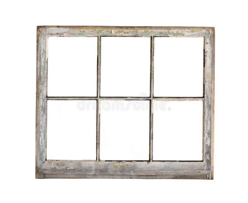 Vecchia finestra di legno della struttura isolata. fotografia stock libera da diritti