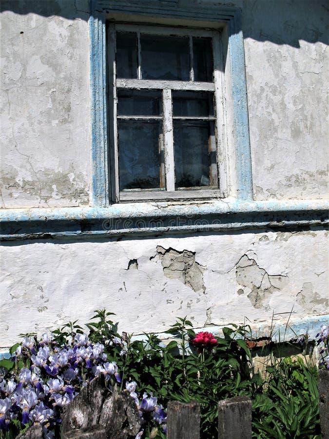 Vecchia finestra in una casa del villaggio con un recinto sotto la finestra ed i fiori fotografia stock