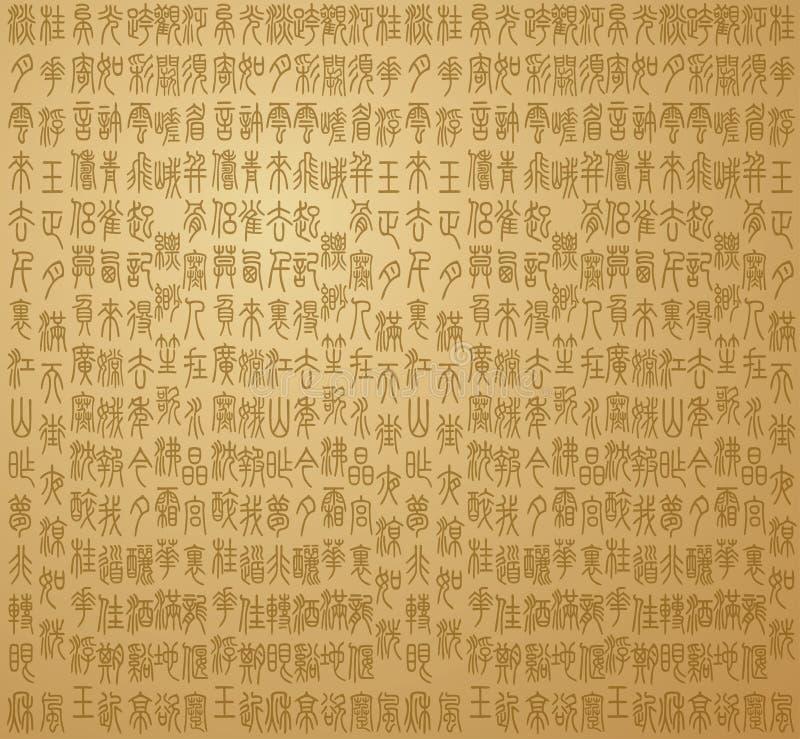 Vecchia fonte tipografica cinese illustrazione vettoriale
