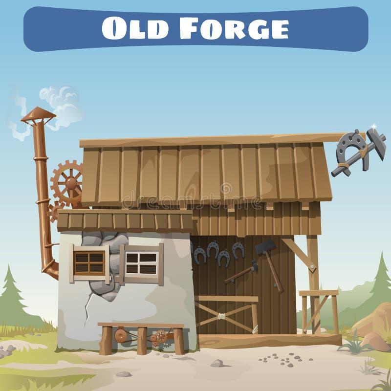 Vecchia forgia nei selvaggi West, carta di serie di storia illustrazione di stock