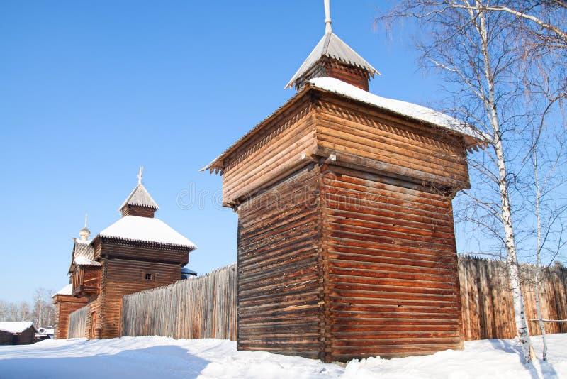 Vecchia fortificazione nel museo di Irkutsk fotografia stock