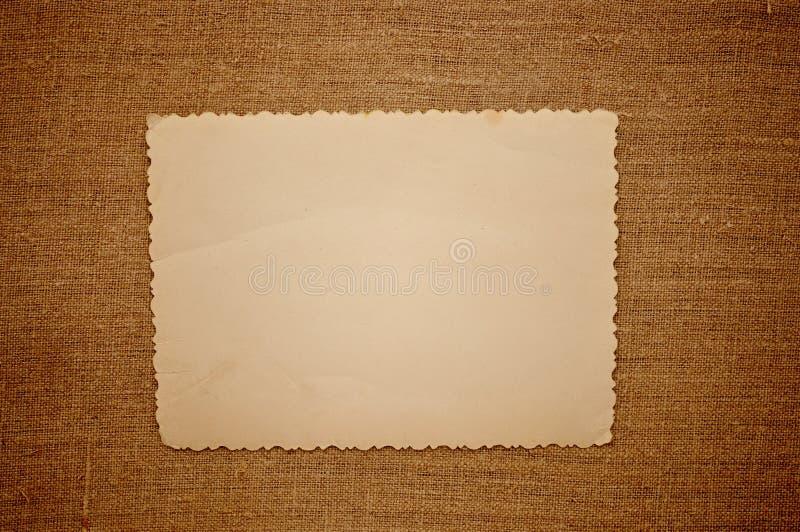Vecchia foto dell'annata sopra tela di canapa fotografia stock libera da diritti