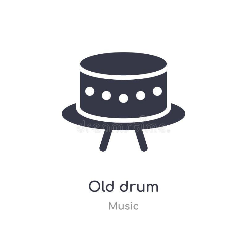 vecchia icona del profilo del tamburo linea isolata illustrazione di vettore dalla raccolta di musica vecchia icona del tamburo d illustrazione vettoriale