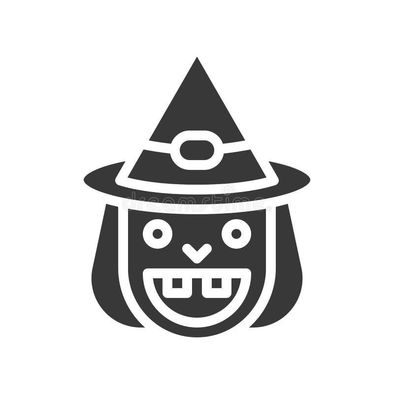 Vecchia icona della strega di sorriso e del cappello della strega, carattere di Halloween, glifo d illustrazione di stock
