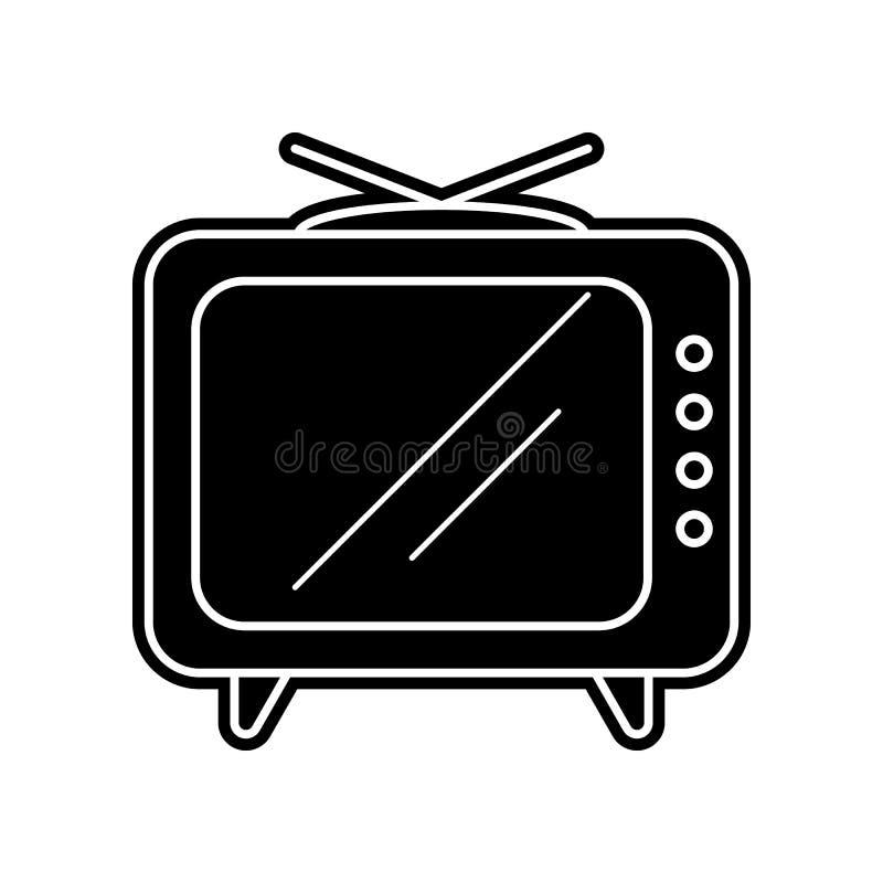 Vecchia icona della TV Elemento dello strumento di media per il concetto e l'icona mobili dei apps di web Glifo, icona piana per  illustrazione di stock
