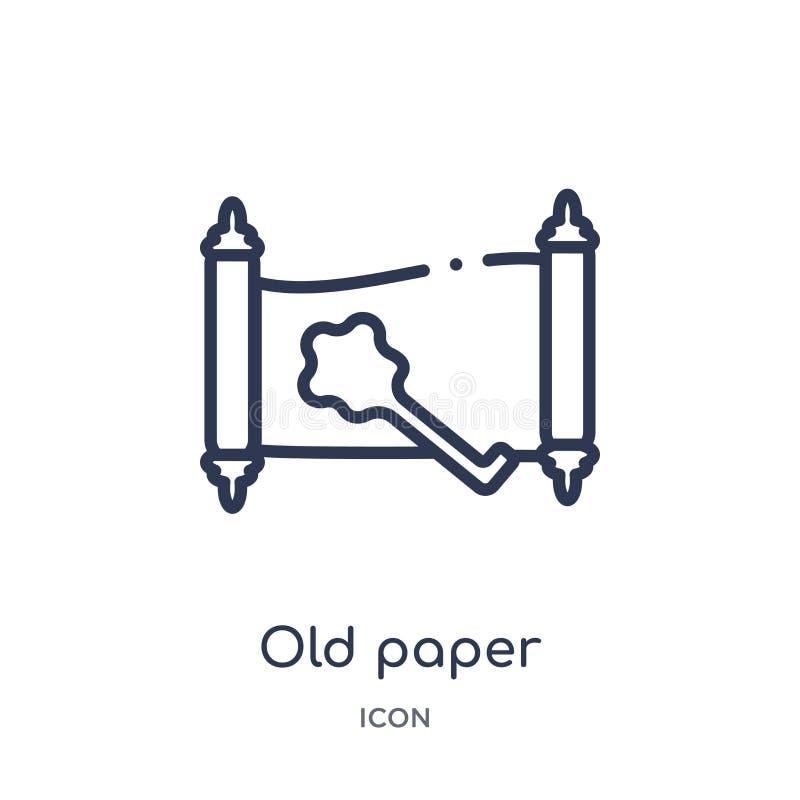 Vecchia icona di carta lineare dalla raccolta del profilo di storia Linea sottile vecchia icona di carta isolata su fondo bianco  illustrazione di stock