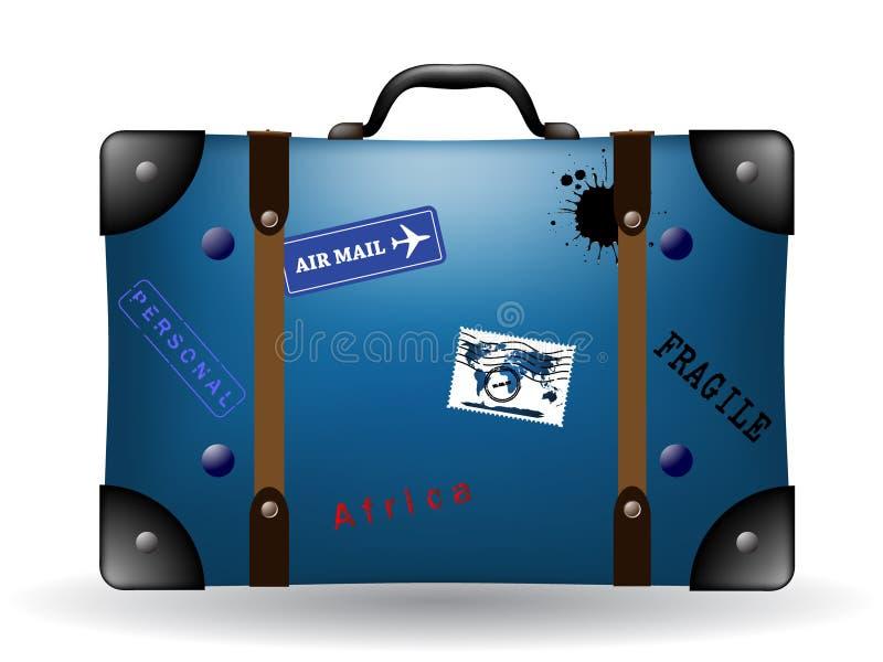 Vecchia illustrazione blu della valigia di corsa illustrazione vettoriale