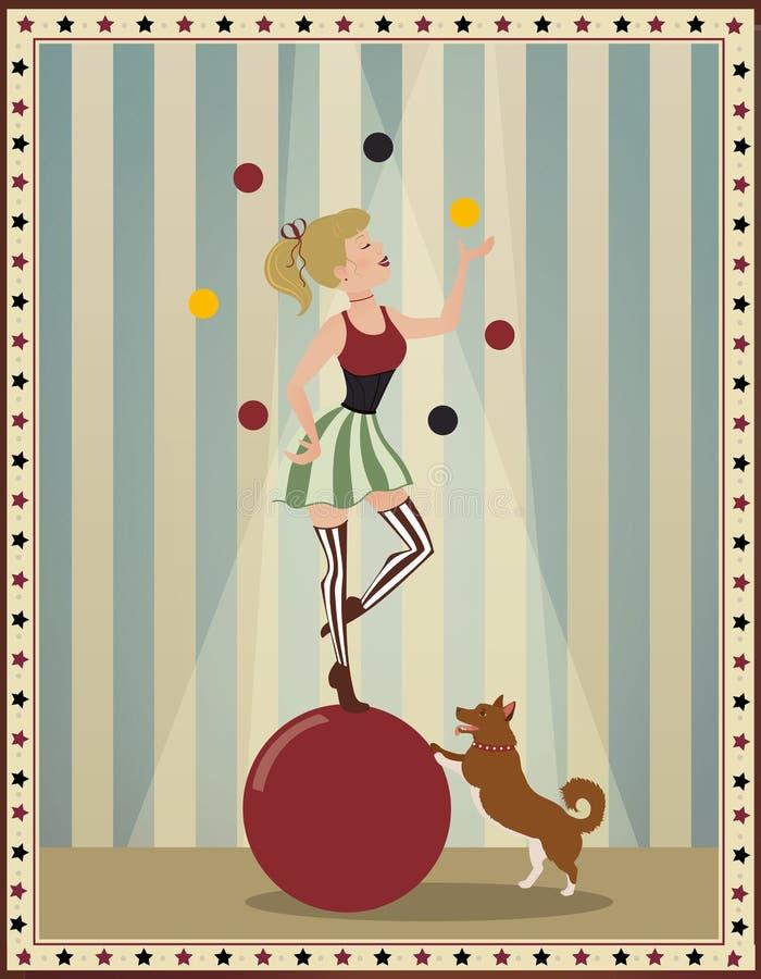 Vecchia illustrazione d'annata del circo di retro e fondo d'annata del manifesto del circo, con grande la cima rossa e blu royalty illustrazione gratis