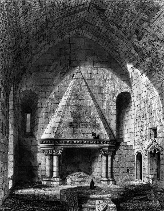 Vecchia illustrazione del castello scozzese storico illustrazione di stock