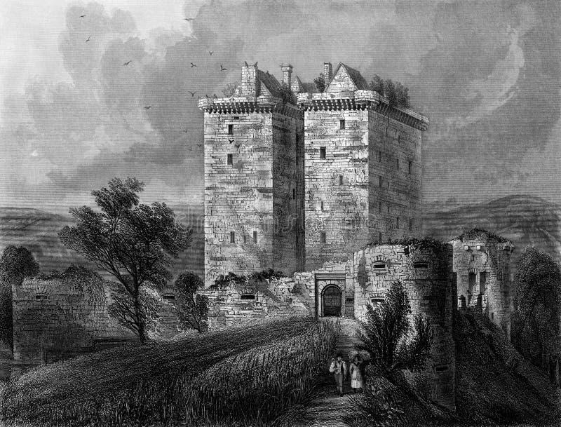 Vecchia illustrazione del castello scozzese storico royalty illustrazione gratis