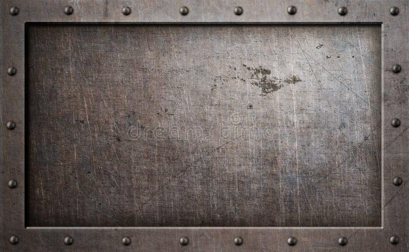 Vecchia illustrazione del fondo 3d della struttura del metallo illustrazione di stock