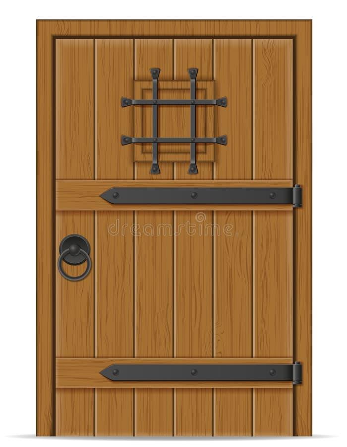 Vecchia illustrazione di legno di vettore della porta illustrazione di stock
