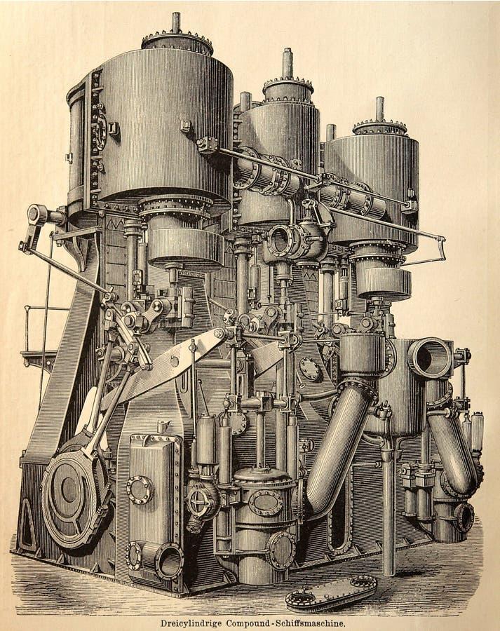 Vecchia incisione del motore a vapore immagine stock libera da diritti