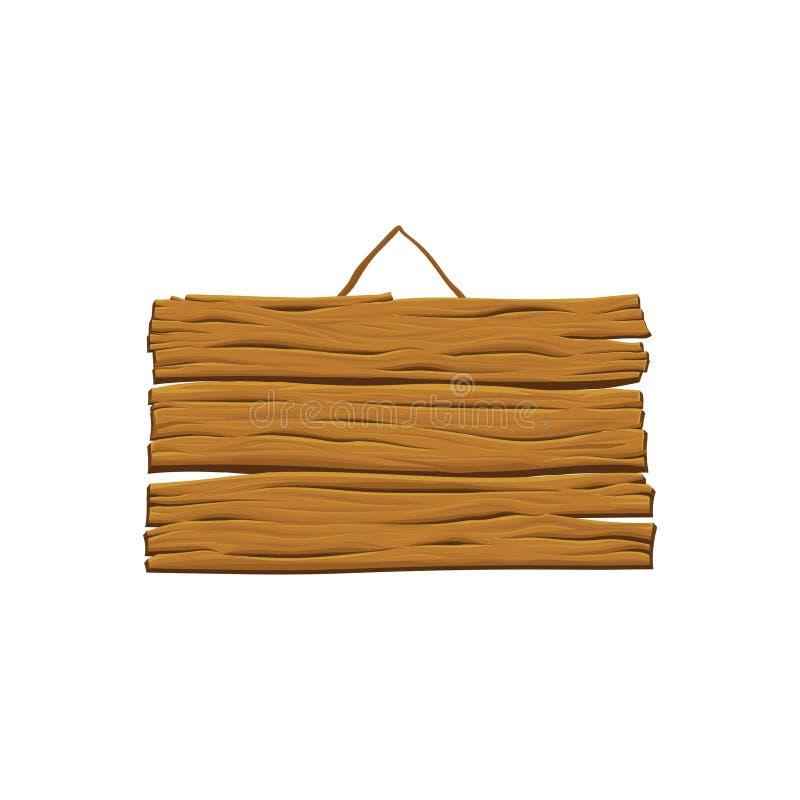 Vecchia insegna d'attaccatura con il posto per il vostro testo Segno di legno vuoto Tabellone per le affissioni in bianco fatto d royalty illustrazione gratis