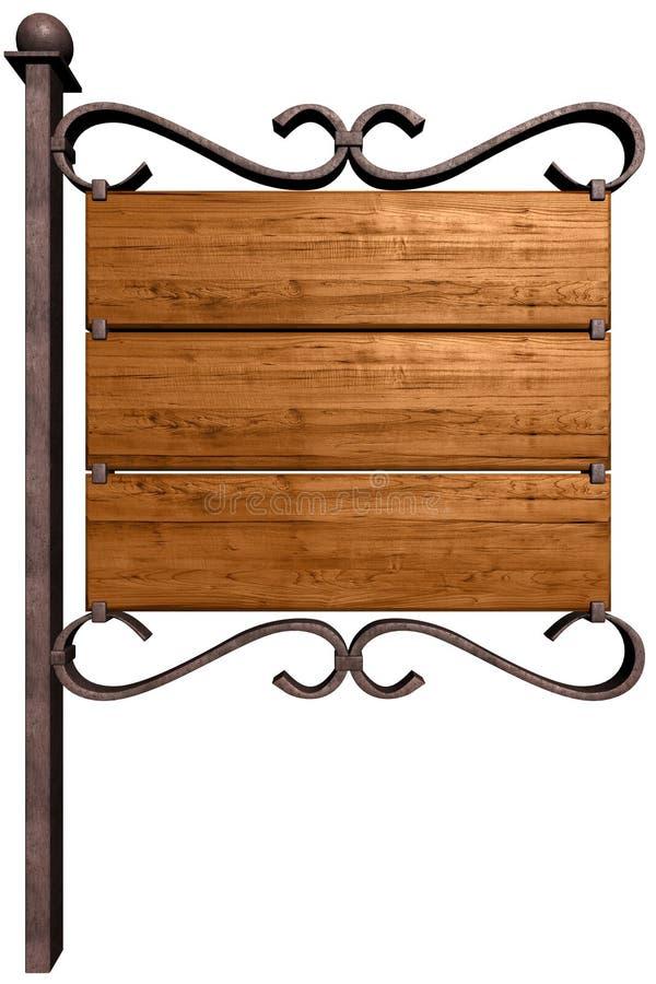 Vecchia insegna di legno. illustrazione vettoriale