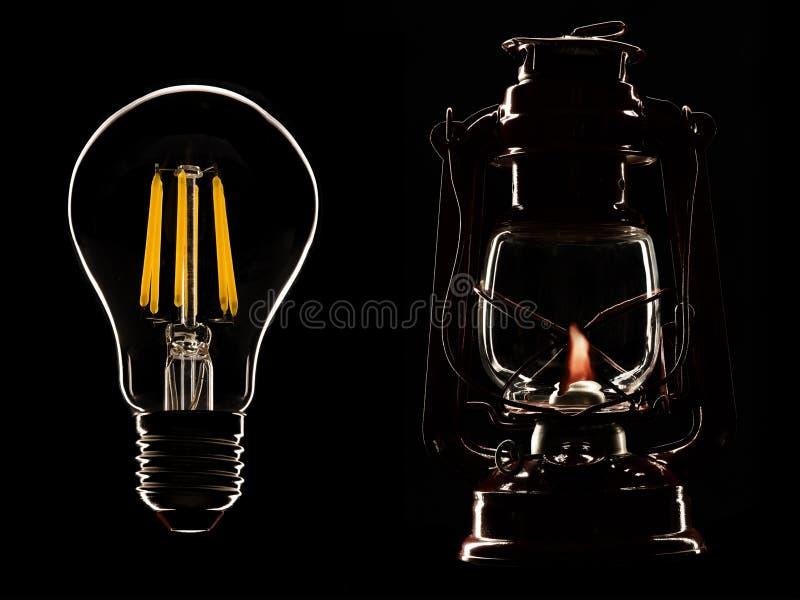 Vecchia lampada del cherosene e lampada principale fotografie stock libere da diritti