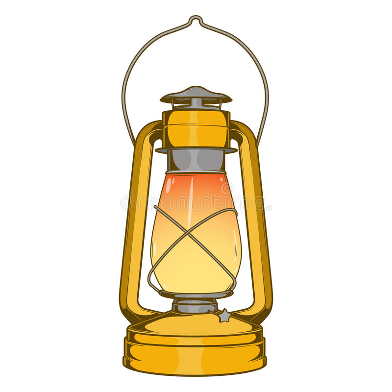 Vecchia lampada di cherosene d'ottone antica isolata su un fondo bianco Linea arte colorata Retro disegno illustrazione vettoriale