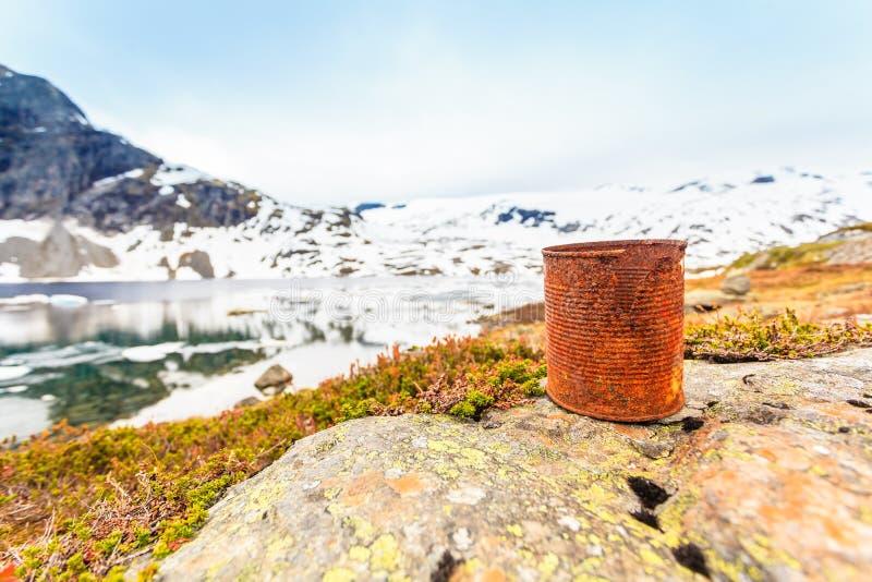 Vecchia latta arrugginita sulla riva del lago Ecologia della terra fotografie stock libere da diritti