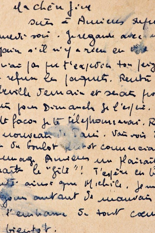 Vecchia lettera con la scrittura dell'annata fotografia stock