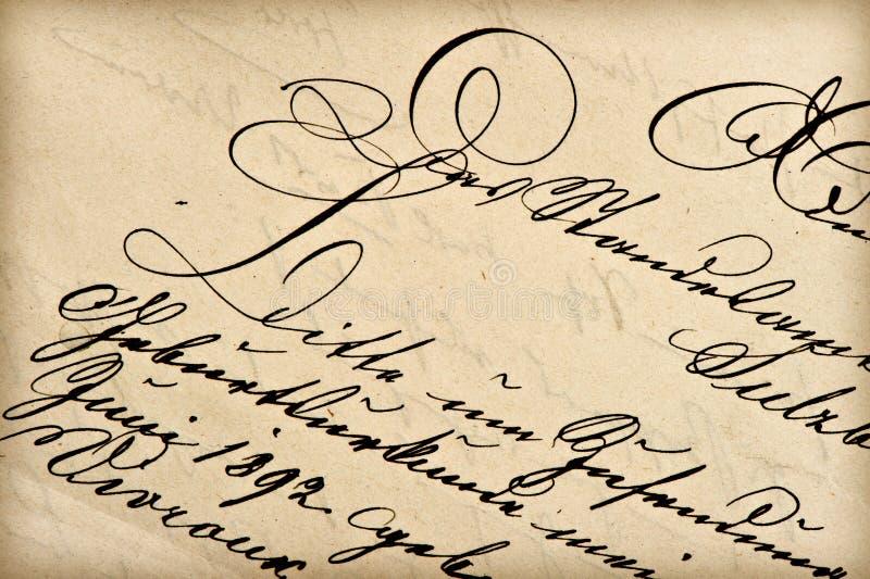 Vecchia lettera con la scrittura dell'annata fotografia stock libera da diritti