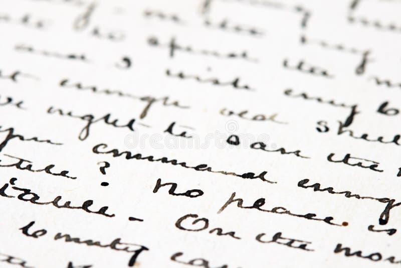 Vecchia lettera dell'inchiostro fotografia stock libera da diritti