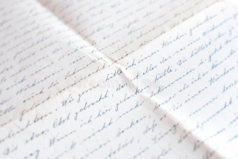 Vecchia lettera scritta a mano - posta, scrittura tedesca fotografie stock