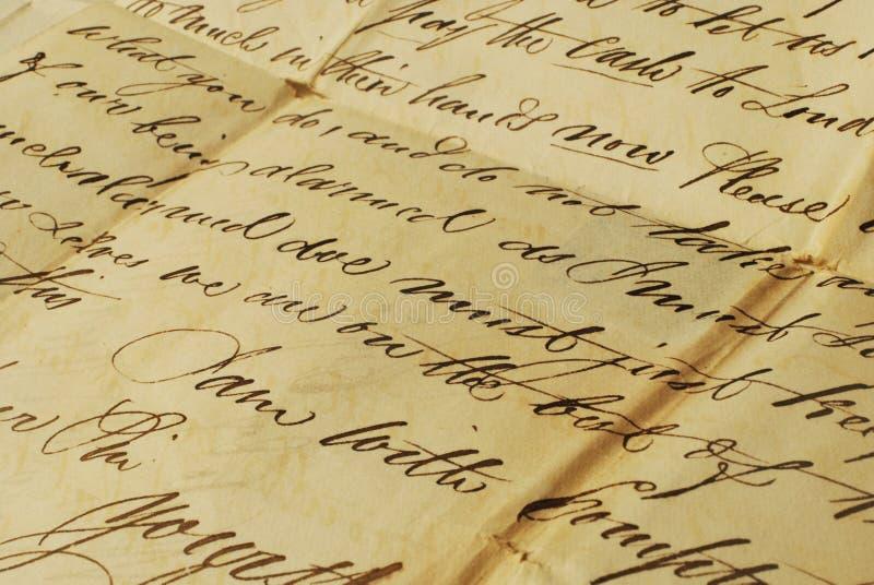 Vecchia lettera, scrittura a mano elegante immagine stock libera da diritti