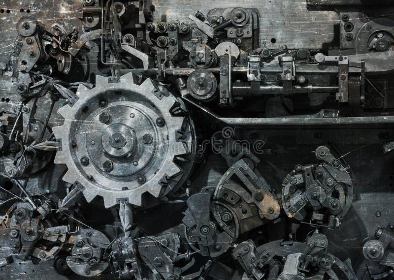 Vecchia macchina complessa per l'imballaggio delle bustine di tè fotografie stock