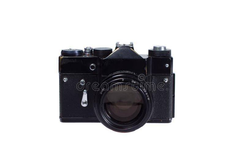 Vecchia macchina fotografica del nero 35mm SLR immagini stock libere da diritti