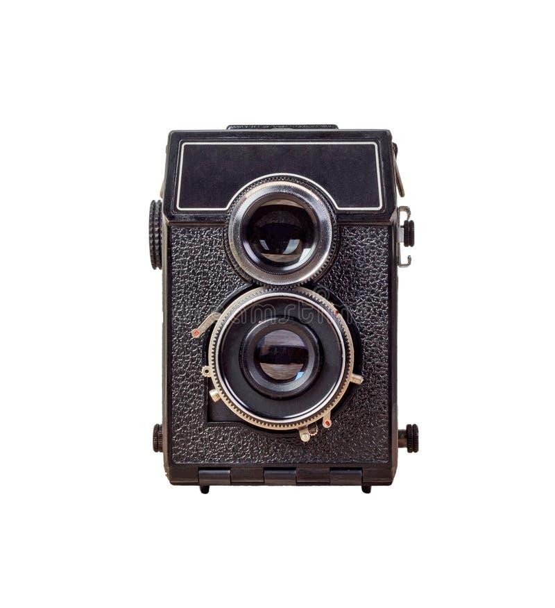 Vecchia macchina fotografica isolata su fondo bianco, stile d'annata Macchina fotografica reflex della vecchia di analogo lente d fotografie stock