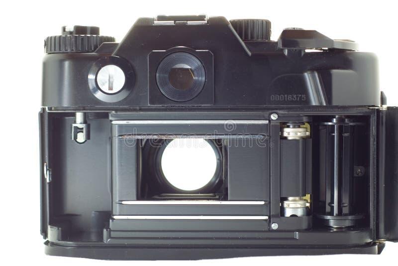 Vecchia macchina fotografica reflex con l'otturatore aperto fotografie stock libere da diritti