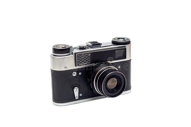 Vecchia macchina fotografica sovietica con una lente isolato immagine stock