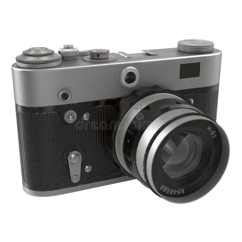 Vecchia, macchina fotografica tradizionale di SLR del film sull'illustrazione bianca 3D fotografia stock