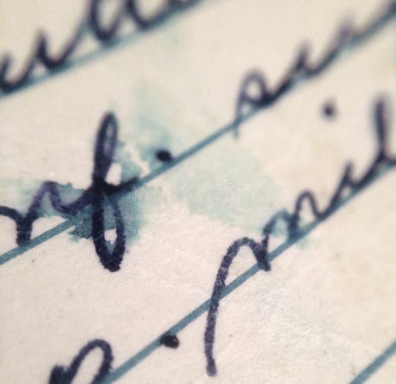 Vecchia macro di Handwritting fotografie stock libere da diritti