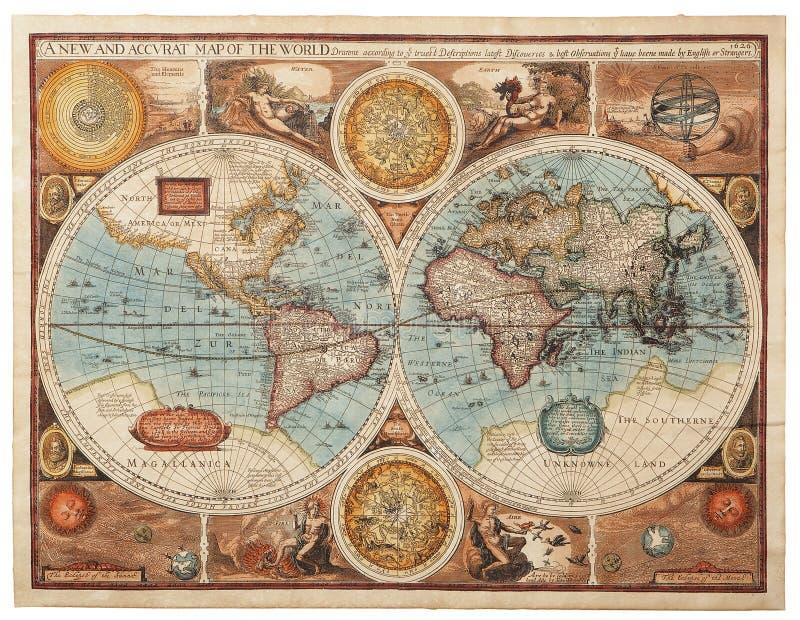 Vecchia mappa (1626) immagine stock libera da diritti