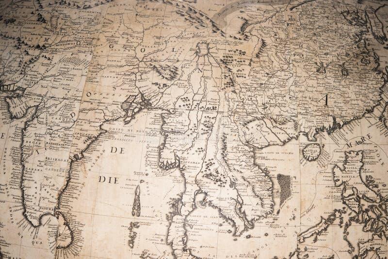 Vecchia mappa antica d'annata del globo della terra fotografia stock