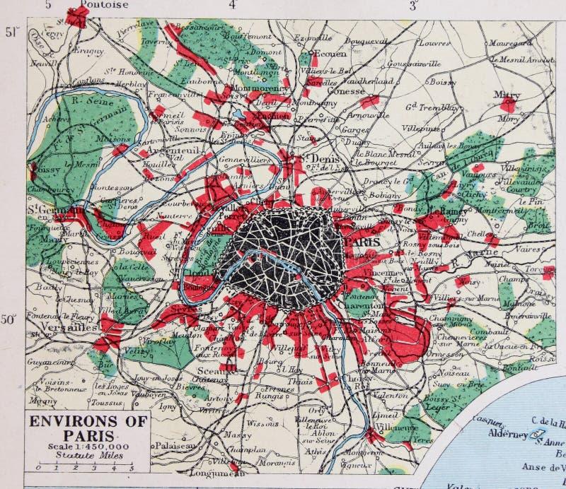 Vecchia mappa 1945 del dintorni di Parigi, Francia royalty illustrazione gratis