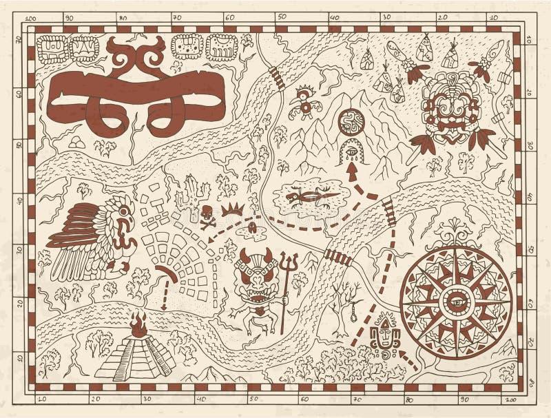 Vecchia mappa del pirata o di maya su fondo strutturato royalty illustrazione gratis