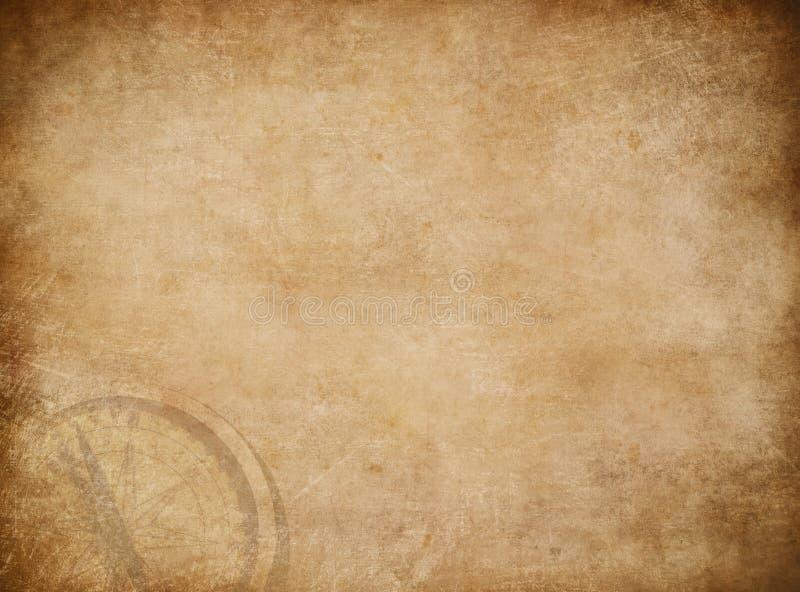Vecchia mappa del tesoro dei pirati con il fondo della bussola illustrazione vettoriale
