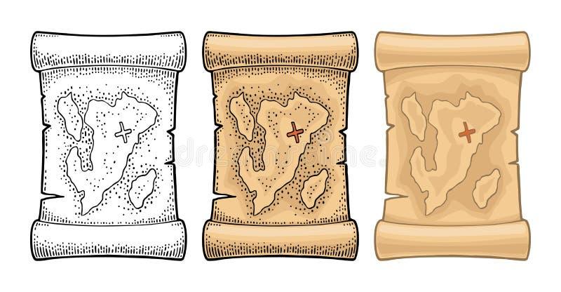 Vecchia mappa del tesoro del pirata Illustrazione d'annata dell'incisione del nero e di colore di vettore Isolato su priorità bas illustrazione di stock