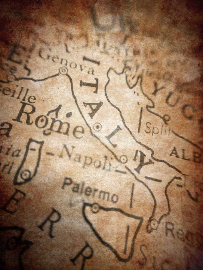 Vecchia mappa dell'Italia fotografia stock libera da diritti