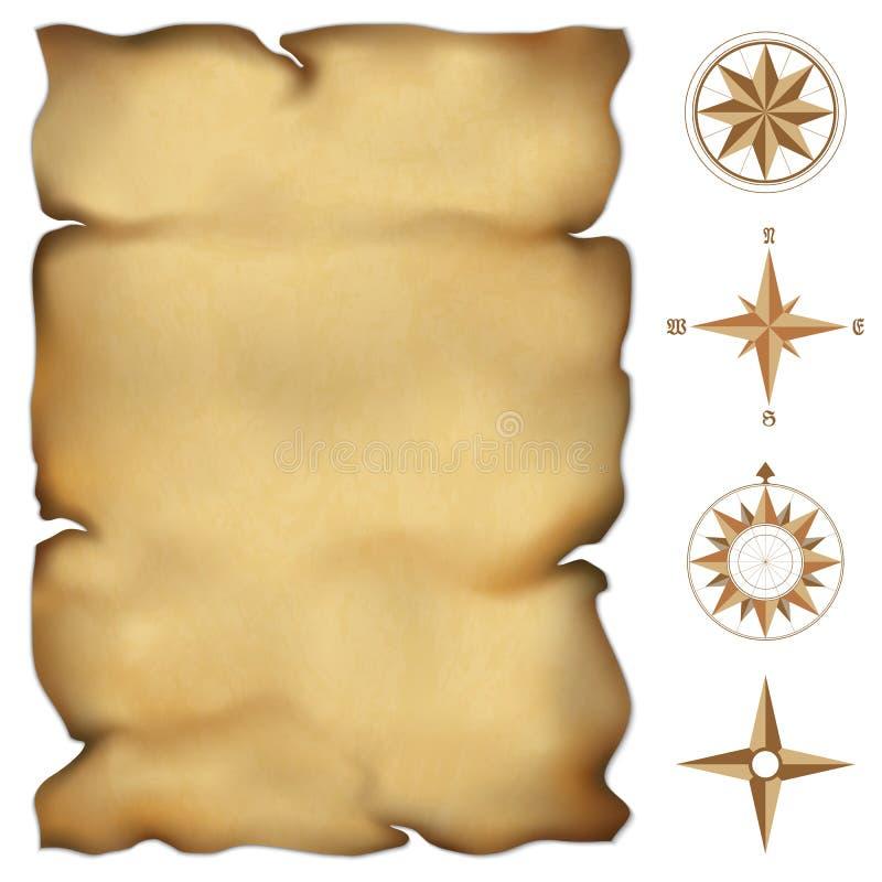 Vecchia mappa della pergamena royalty illustrazione gratis