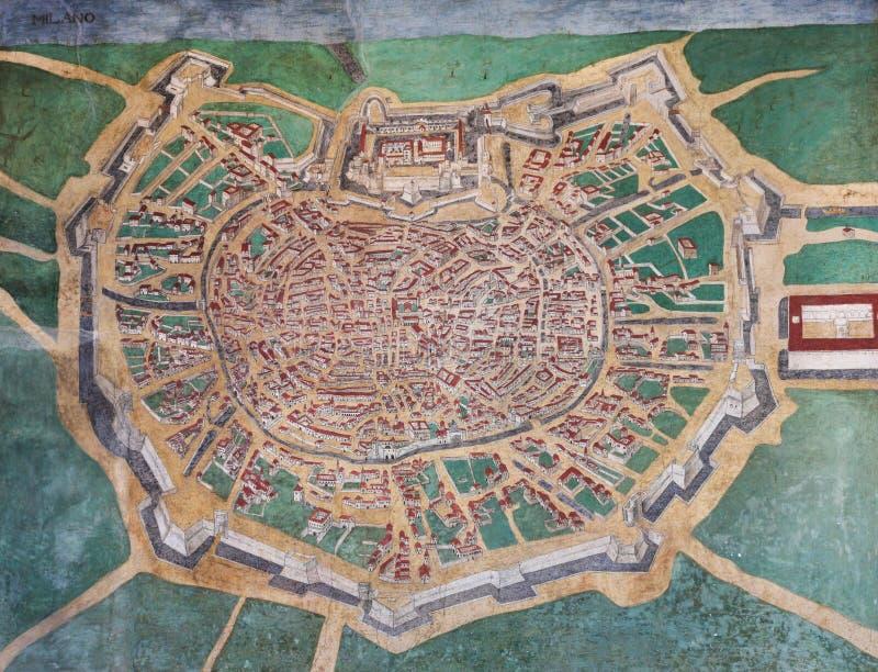Vecchia mappa di Milano, Italia fotografia stock
