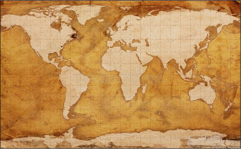 Vecchia mappa di mondo della terra illustrazione vettoriale