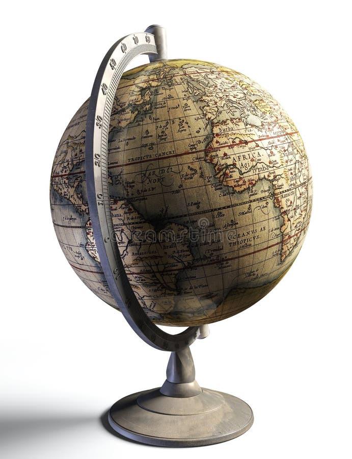 Vecchia mappa di storia sul globo del metallo illustrazione di stock
