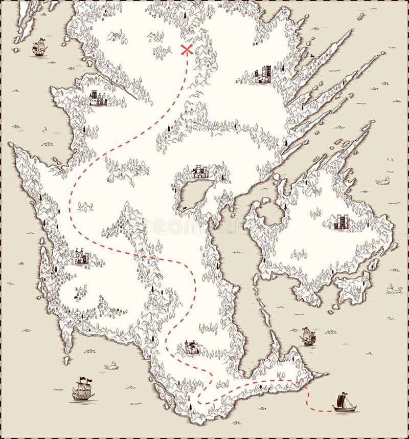 Vecchia mappa di vettore, tesoro del pirata illustrazione vettoriale