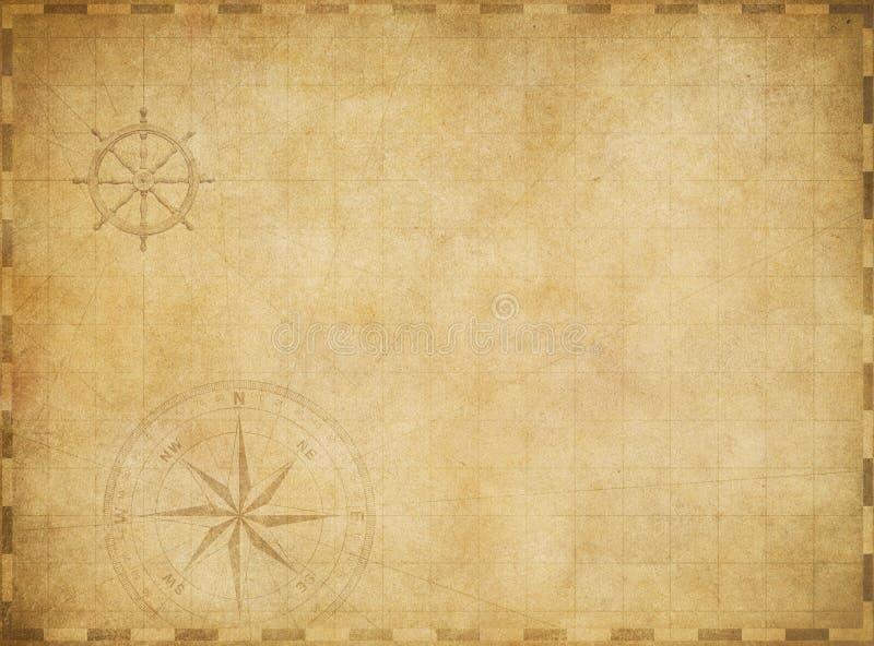 Vecchia mappa nautica d'annata in bianco su pergamena consumata fotografia stock