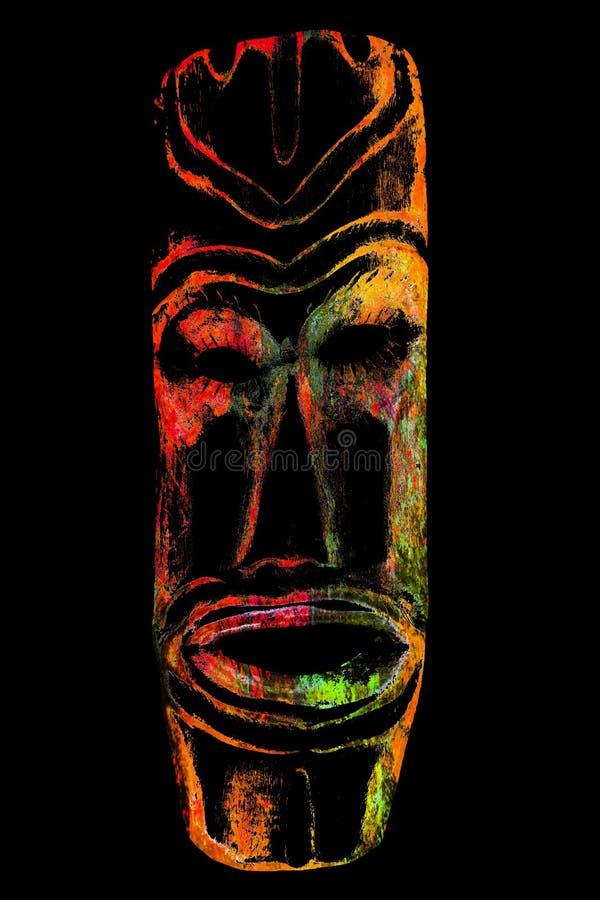 Vecchia maschera di legno isolata sul nero illustrazione di stock
