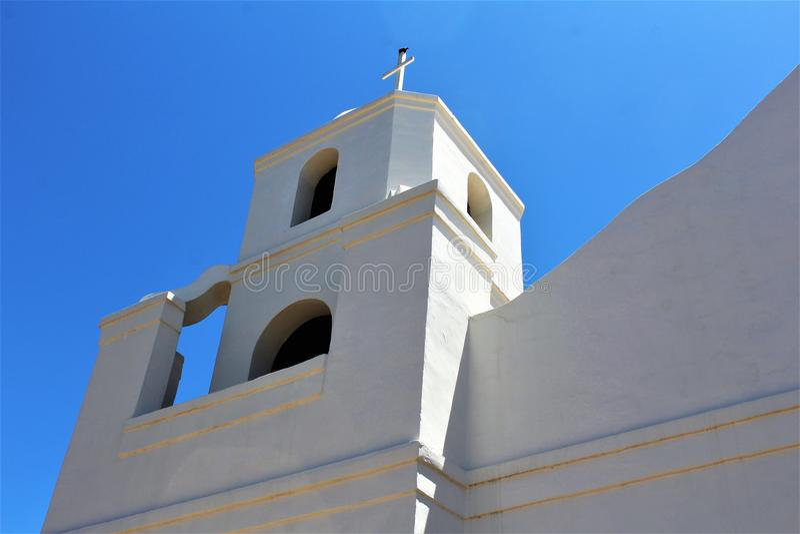 Vecchia missione di Adobe, la nostra signora della chiesa cattolica perpetua di aiuto, Scottsdale, Arizona, Stati Uniti immagini stock