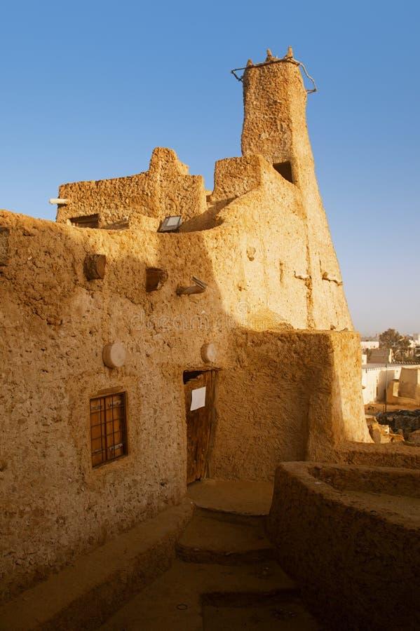 Vecchia moschea della fortezza di Shali nell'oasi di Siwa fotografia stock